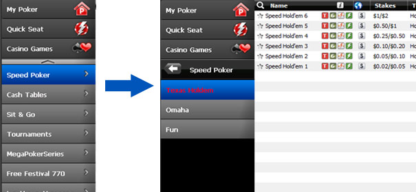 Table speed poker